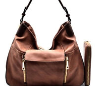 Womens Leather Medium Hobo Handbag Shoulder Purse Free Matching Wallet Mocha