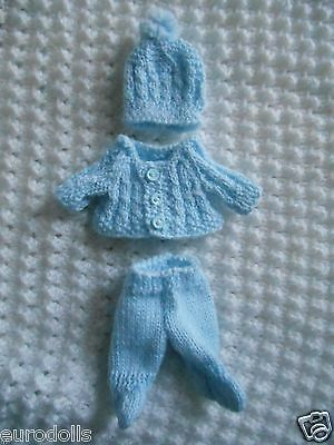 """Doll Clothes Blue Hand knitted footed set for baby Boy ooak 6"""" Berenguer 5"""""""