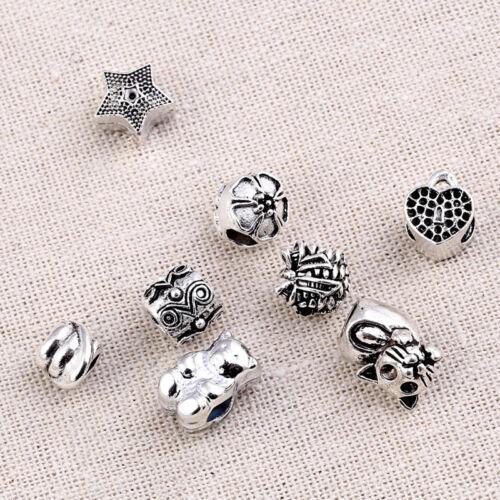 10pcs Cat Flower Bear Dreadlock Beads 4mm Hole DIY Fashion Hair Jewelry Decor