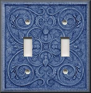 Metal-Light-Switch-Plate-Cover-Home-Decor-French-Pattern-Image-Blue-Decor