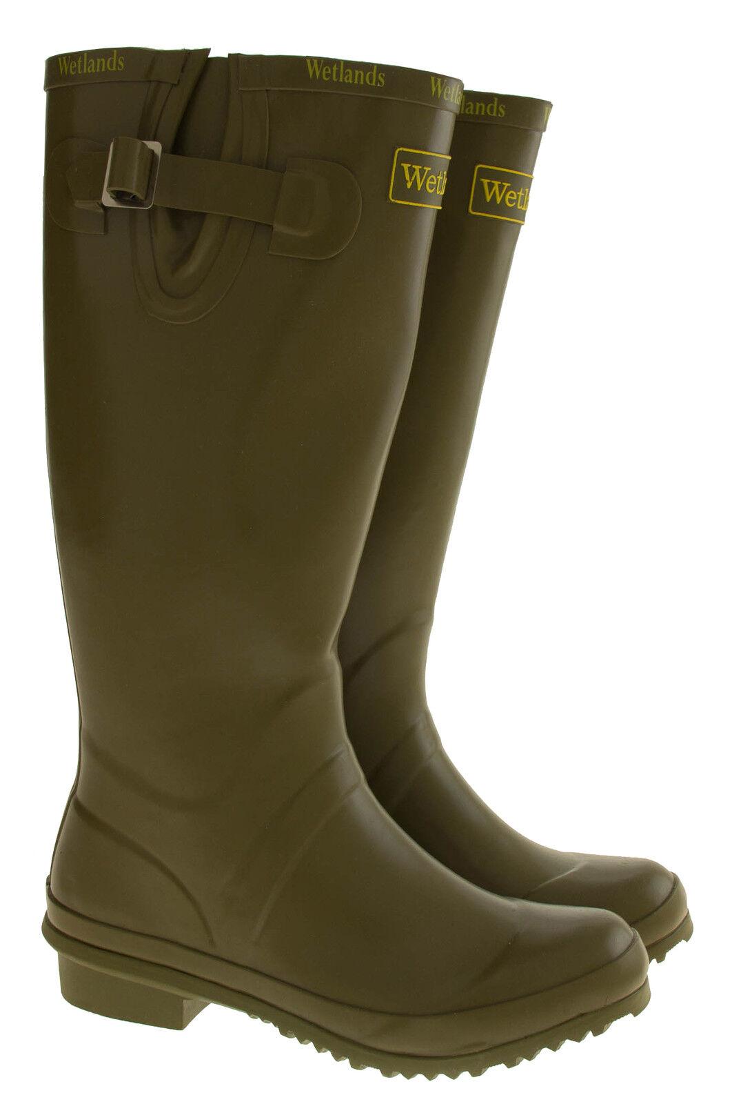 New Womens Green WETLANDS Festival Wellies Garden Wellington Boots Sz 4 5 6 7 8