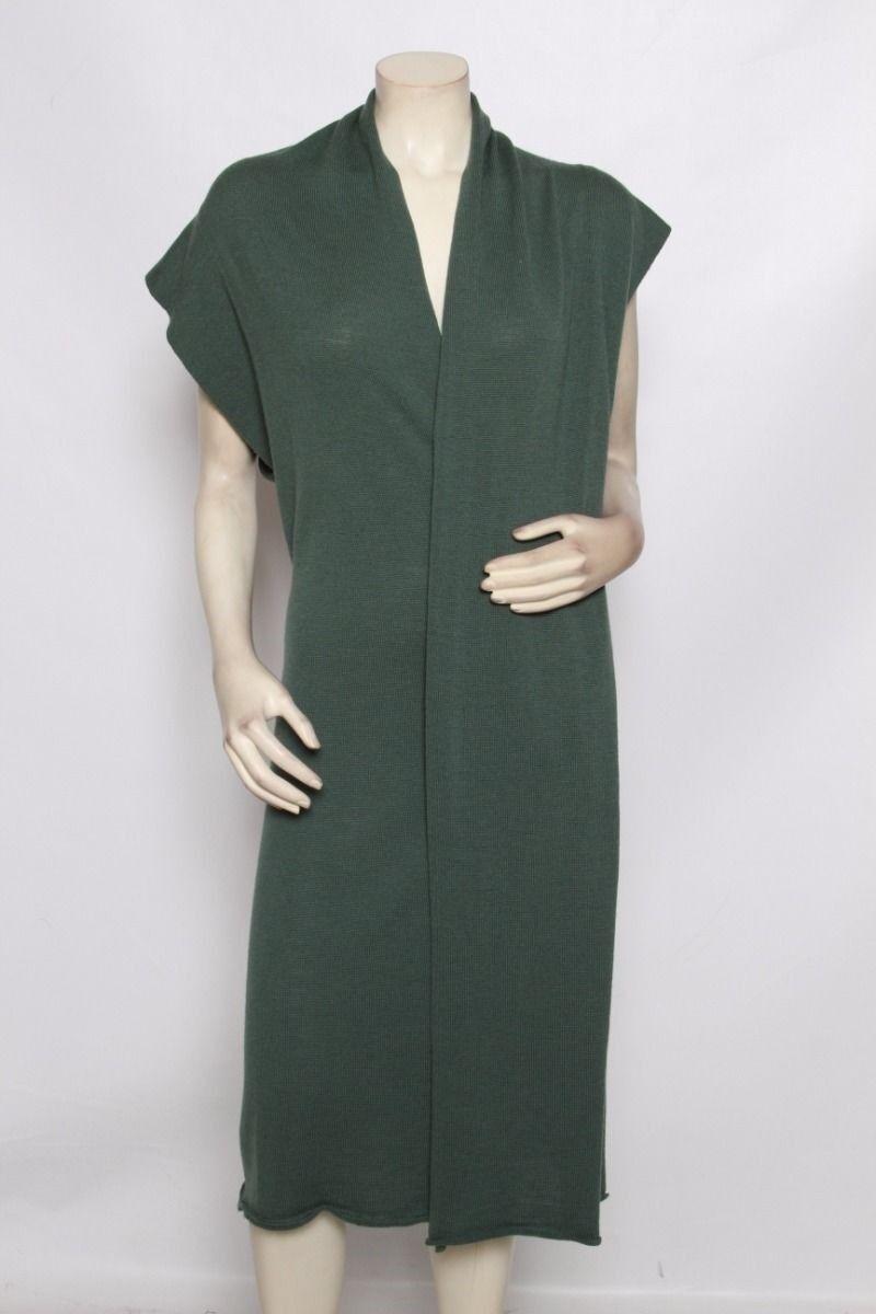 YOHJI YAMAMOTO Solid Green Wool Long Sleeveless Vest Cardigan Sweater - Size S