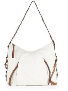 Image is loading Bueno-Handbag-white-Hobo-with-faux-leather-trim- cc801725f5fcf