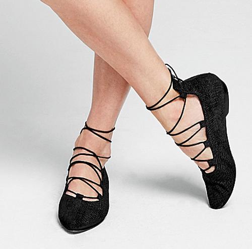 NUOVO Eileen  Fisher Sz 7 nero Suede Bow 2 Lace Up scarpe Ballerinas  online economico