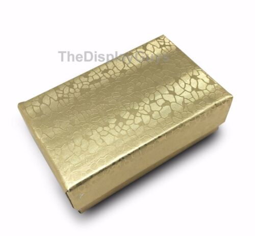 """US Seller~Lot of 100 pcs 2 5//8/""""x1 1//2/""""x1/"""" Gold Cotton Filled Jewelry Boxes"""