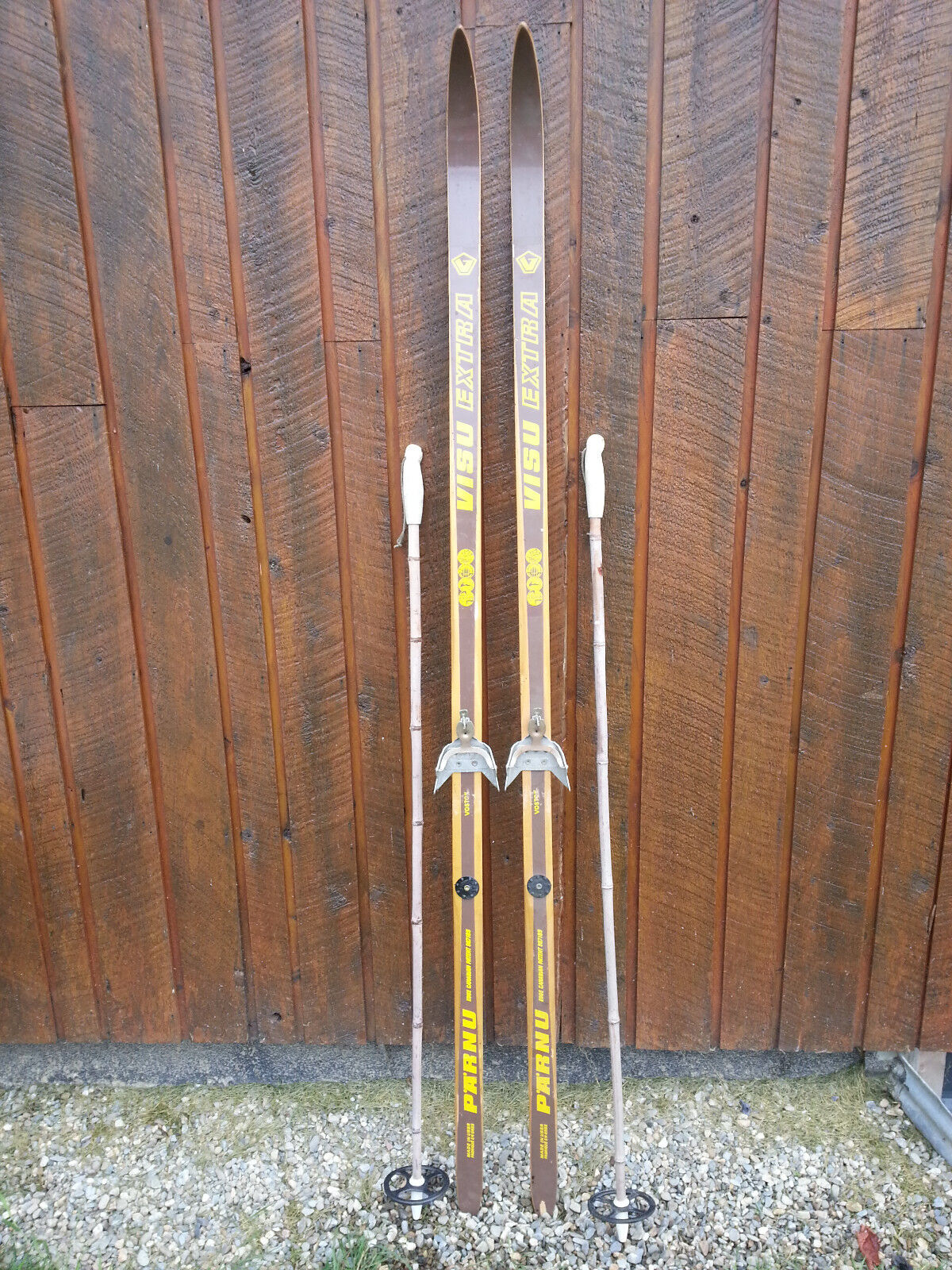 VINTAGE Wooden 76  Skis Has  BROWN Finish Signed VISA EXTRA + Bamboo Poles