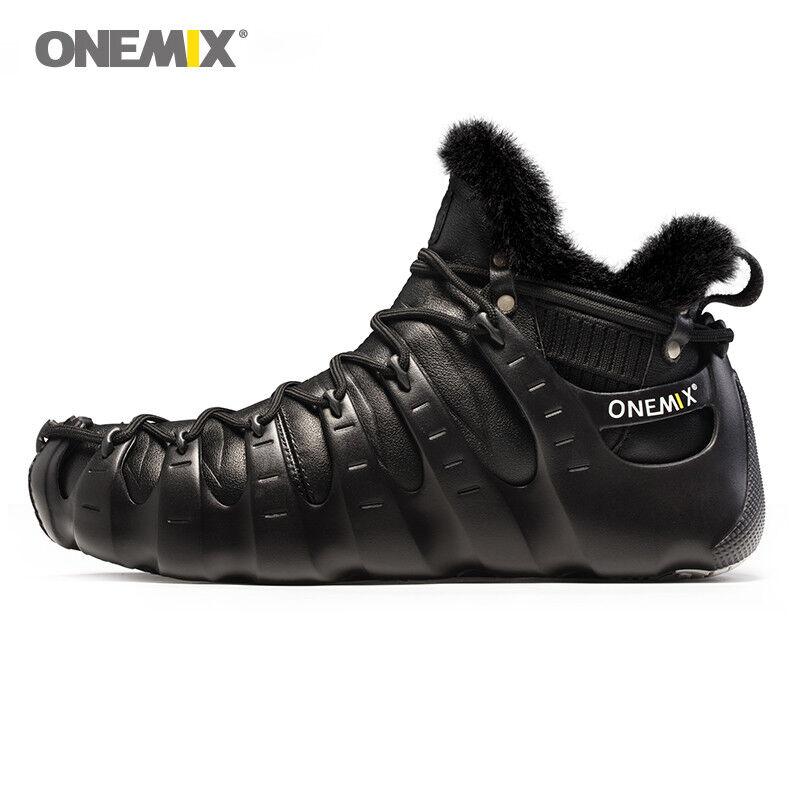 Onmeix Hombre Premium Cuero botas Zapatos tenis de invierno impermeable al aire libre de lana