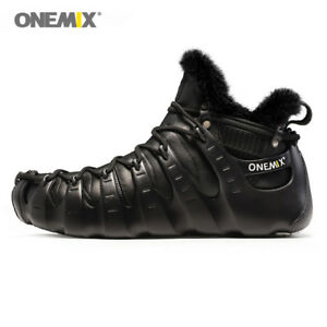Mens Leather Ankle Boot Warm Wool Outdoor Plush Shoes Waterproof Winter Sneakers
