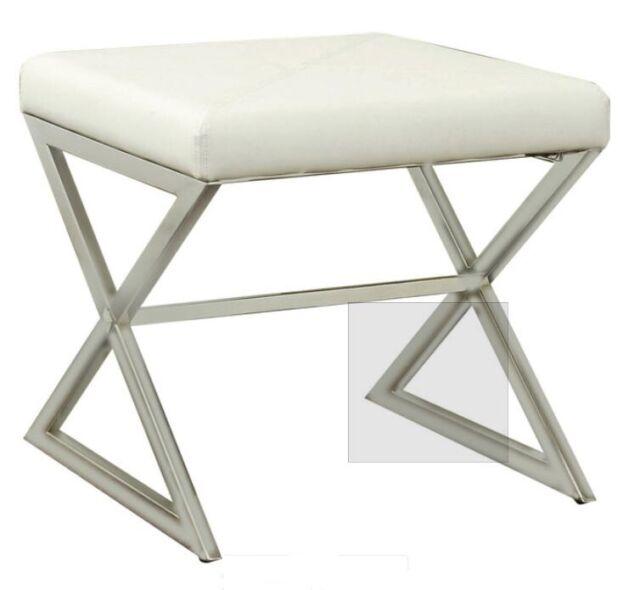 Pleasant Coaster Upholstered Ottoman W Metal Base White Uwap Interior Chair Design Uwaporg