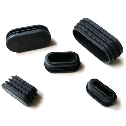 Schwarz Endkappe Kunststoff Lamellen Stopfen Stuhl Gleiter für Flach Ovalrohr