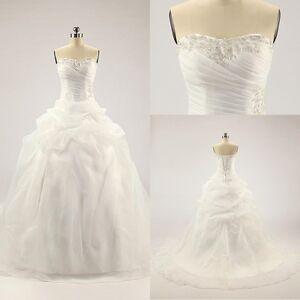 White ivory cheap beaded bridal formal wedding dresses for Cheap wedding dresses ebay