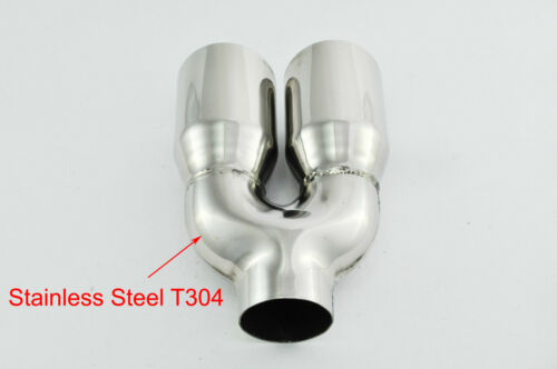 "Exhaust tips s//steel tailpipes trims dual 3/"" 76mm for BMW VW Peugeot BL164R"