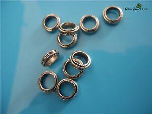 10 PCs Tibetan Carved Silver Metal Beads Set - Dreadlock Beads dread beads A09