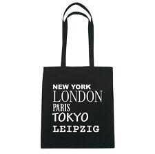 New York, London, Paris, Tokyo LEIPZIG  - Jutebeutel Tasche - Farbe: schwarz