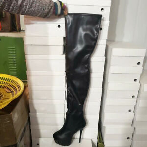 02a244c3614 Details about STYLISH Women Thigh High Boots Platform High Heels Boots  Black Shoes Size 4-20