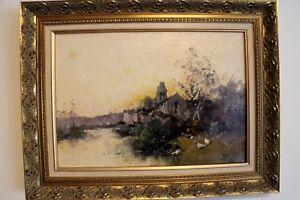 oil-on-canvas-E-Galien-Laloue-J-Lievin-landscape-river-scene-french-art