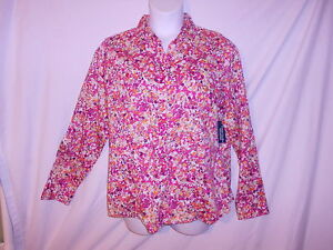 New ladies floral print long sleeve button down woven for Organic cotton button down shirts
