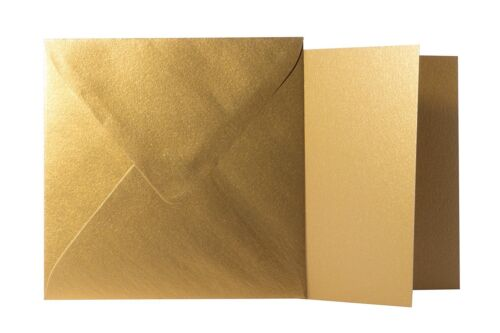 Klappkarten quadratisch Gold 25x Briefumschläge 13x13 cm // 12,5x12,5 cm