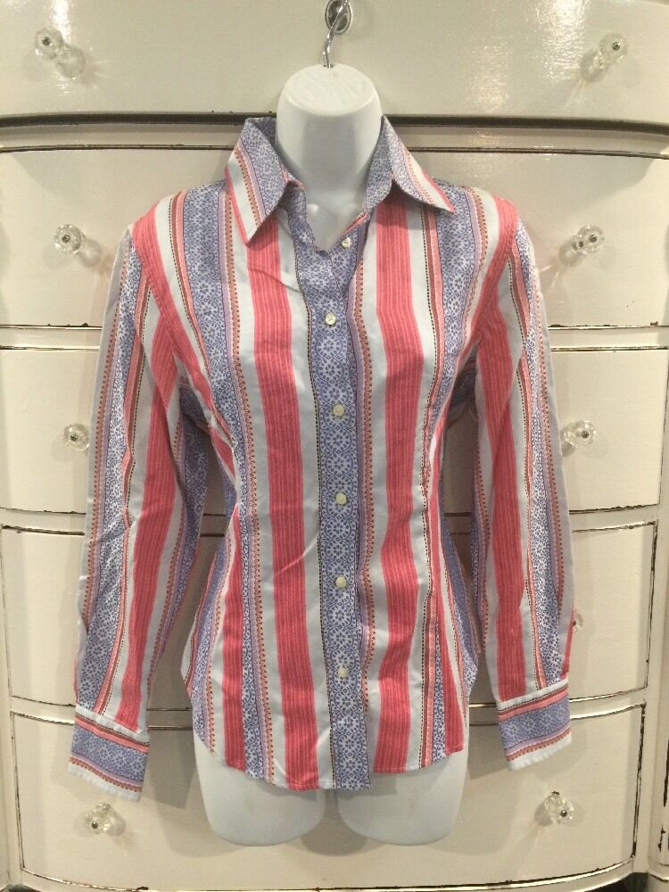 colorful Pink And bluee ETRO Ladies Cotton Shirt 44