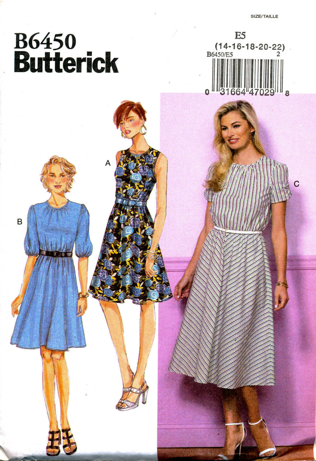 BUTTERICK SEWING PATTERN 6450 MISSES 14-22 SEMI-FITTED DRESS WITH SLEEVE OPTIONS