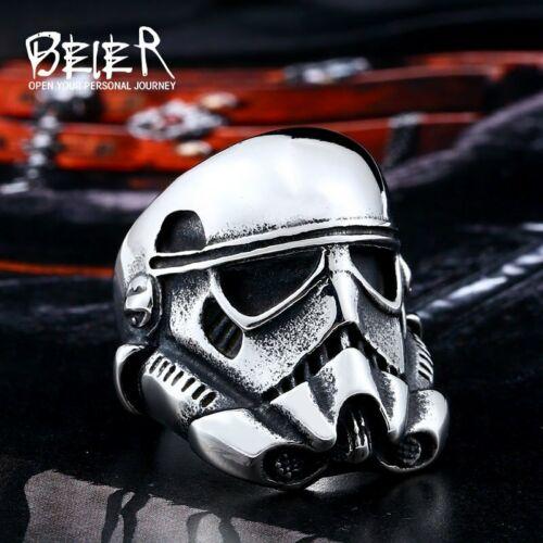 Anillo de Hombre Calavera Máscara Star Wars Stormtrooper Motorista de Acero Inoxidable 316 L