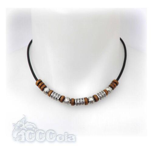 New Style Collier Exclusifs Homme//Femme fil Cuir véritable+perles en métat bois