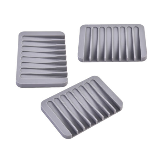 3pcs Rectangle Silicone Soap Dish Holder Plate Bathroom Shower Soapbox Tray
