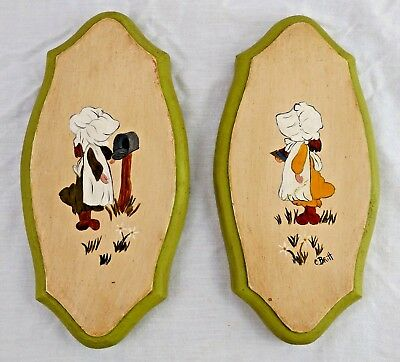 Pair Sunbonnet Girls Hand Painted Wood Plaques Signed School