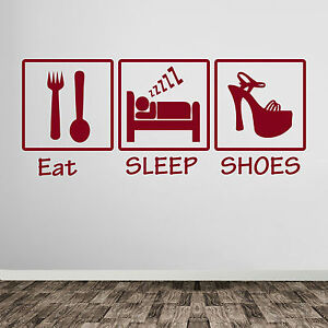 Eat-Sleep-Shoes-Girl-s-Ladies-High-Heel-Shoes-Wall-Window-Stickers-Decals-A383