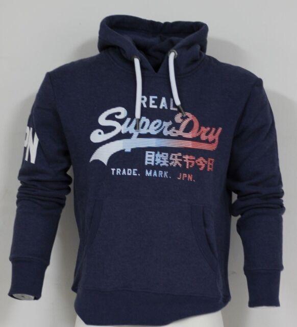 Superdry M20364IRBCY Mens Original Vintage Logo 1st Hood Hoodies Blue Marl