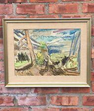 French German Artist Charles Crodel Original Expressive Landscape W/C. Signed