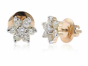 Pave-1-Cts-Rond-Brillante-Couper-Diamants-Clous-Boucles-d-039-oreilles-En-750-18K-Or
