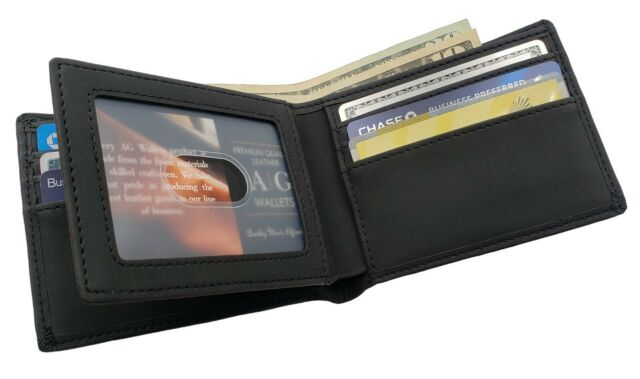 Mens Genuine Leather Black Flap Credit Card ID Holder Slim Bifold Wallet