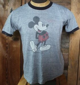 bef81e70 Image is loading vintage-70s-MICKEY-MOUSE-Black-Grey-DISTRESSED-RINGER-