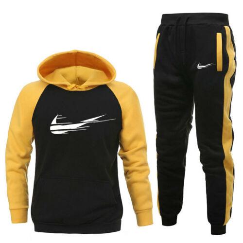 Men/'s Tracksuit Set Patchwork Hoodies Pullover Pants Bottoms Sportswear Trackies