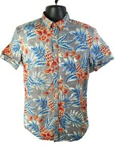 George-Mens-Size-S-Slim-Fit-Floral-Hawaiian-Shirt-Blue-Red