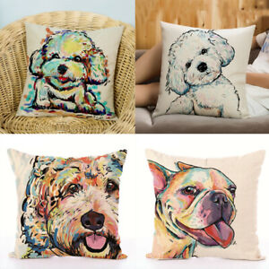 Dog-Paint-Cotton-Linen-Pillowcase-Back-Cushion-Cover-Pillow-Case-Sofa-Decor-34CA