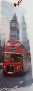 LONDON-BUS-AND-BIG-BEN-DOUBLE-DESIGN-3D-HOLOGRAPHIC-BOOKMARK-WITH-SILK-TASSEL
