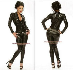 Image is loading Black-Metallic-Womens-Black-Bodysuit-Catsuit-Zip-Up-  sc 1 st  eBay & Black Metallic Womens Black Bodysuit Catsuit Zip Up Halloween ...