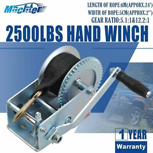 Details about 2500LBS 2 Gear Hand Crank Winch Hand Winch Heavy-Duty Nylon  Strap Boat Trailer
