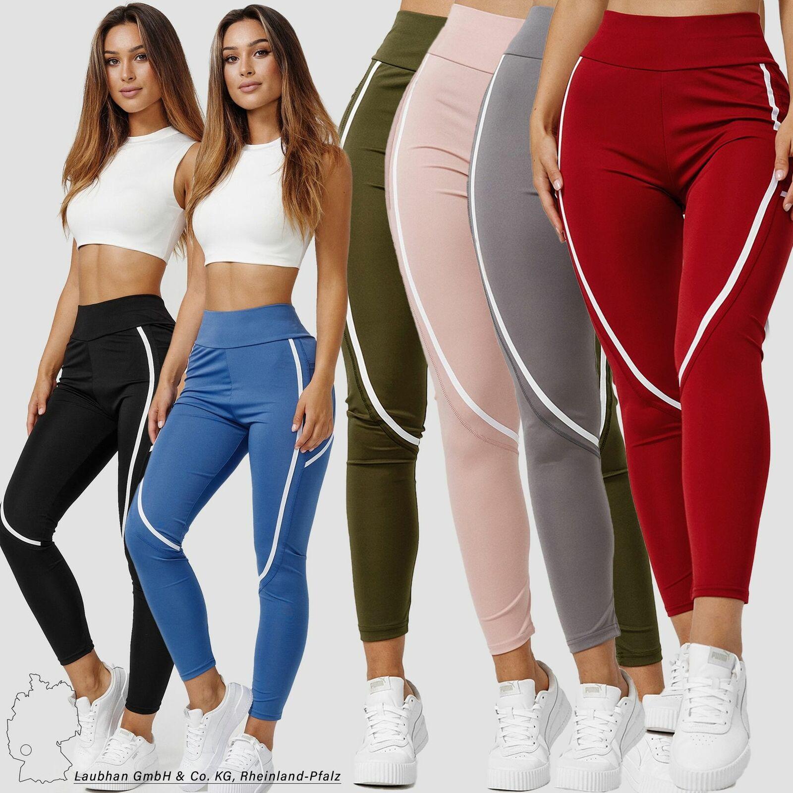 Damen Sport Leggings Stretch Fitness Hose Skinny Yoga Pants Treggings mit Tasche