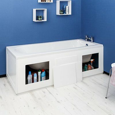 Croydex Gloss White Front Bath Panel Side Storage Removable Panels WB715122