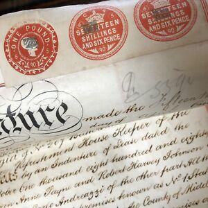 Antique 1890 Vellum Legal Document Hand Written 1 Station Terrace Kew London Old