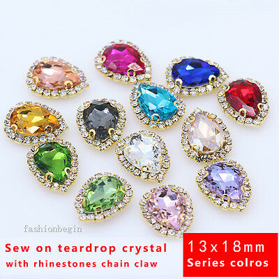 12pcs 25x18mm teardrop rhinestone cut crystal bead point back you pick color diy