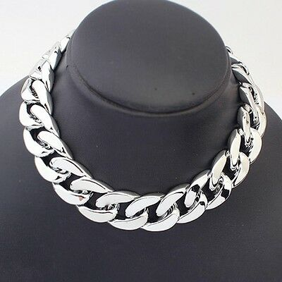 hot statement Jewelry Silver plated thick chain Statement collar bib Necklace