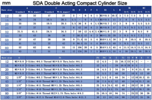 High Quality SDA25x15 Pneumatic SDA25-15mm Double Acting Compact AIR Cylinder