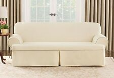 Loveseat Natural Cotton Duck canvas piping t cushion Slipcover sure fit