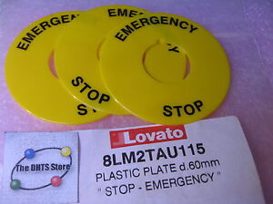 Lovato-8LM2TAU115-Plastic-Disk-Label-EMERGENCY-STOP-60mm-8LM-Button-NOS-Qty-3