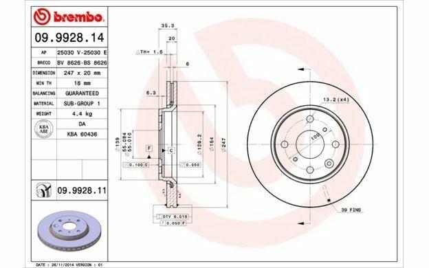 2x BREMBO Dischi Freno Anteriori Ventilato 247mm per TOYOTA AYGO 09.9928.14