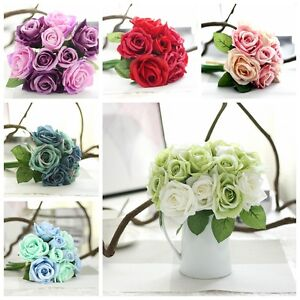 A bunch of 9 heads rose real touch silk flower single stem bouquet image is loading a bunch of 9 heads rose real touch mightylinksfo